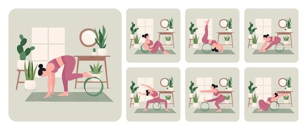 Yoga wiel trainingsset jonge vrouw die yogahoudingen beoefent