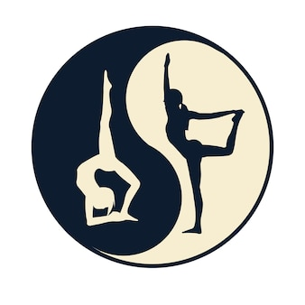 Yoga ying yang op witte achtergrond