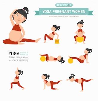 Yoga zwangere vrouwen gezondheidszorg infographics. vector