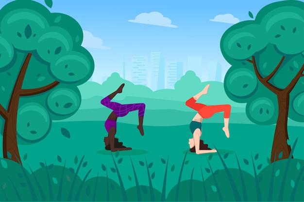 Yogabeoefening in het park, zomer buiten en actieve levensstijl voor vrouwen