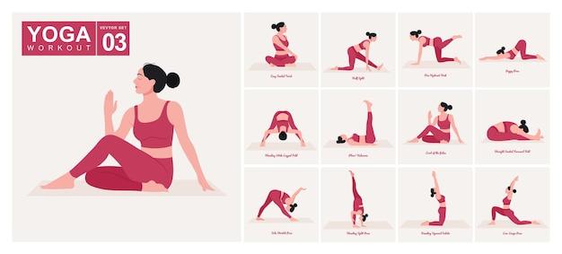 Yogahoudingen instellen jonge vrouw die yogahoudingen beoefent