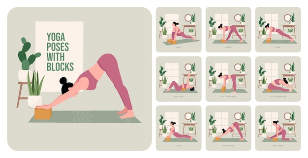 Yogahoudingen met blokken jonge vrouw die yogahoudingen beoefent