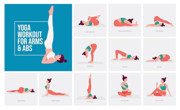 Yogahoudingen voor armen en buikspieren jonge vrouw die yogahoudingen beoefent