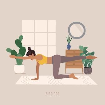 Yogahoudingen voor beginners jonge vrouw die yogahouding beoefent