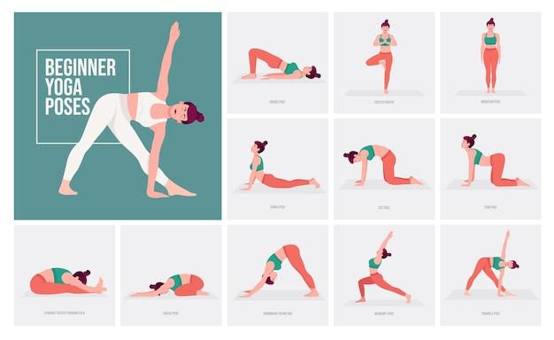 Yogahoudingen voor beginners jonge vrouw die yogahoudingen beoefent