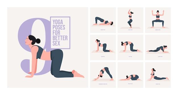Yogahoudingen voor betere seks jonge vrouw die yogahouding beoefent