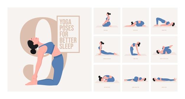Yogahoudingen voor een betere nachtrust jonge vrouw die yogahouding beoefent