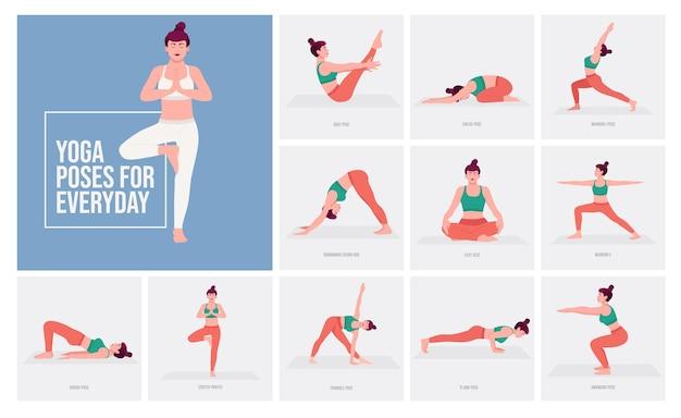 Yogahoudingen voor elke dag jonge vrouw die yogahoudingen beoefent
