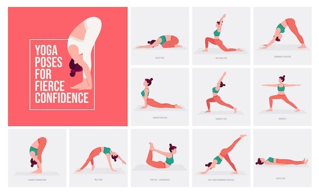 Yogahoudingen voor fel vertrouwen jonge vrouw die yogahoudingen beoefent