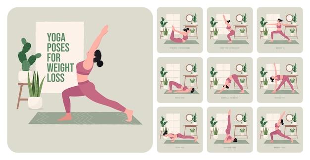 Yogahoudingen voor gewichtsverlies jonge vrouw die yogahoudingen beoefent