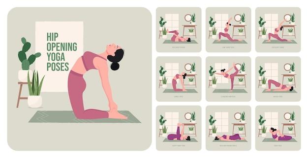 Yogahoudingen voor heupopening jonge vrouw die yogahoudingen beoefent