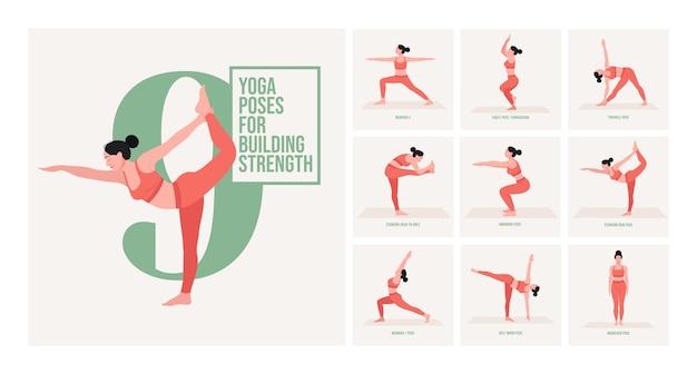 Yogahoudingen voor menstruatie jonge vrouw die yogahoudingen beoefent