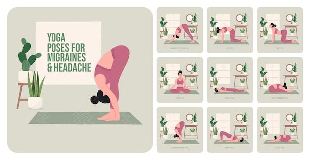 Yogahoudingen voor migraine en hoofdpijn jonge vrouw die yogahoudingen beoefent