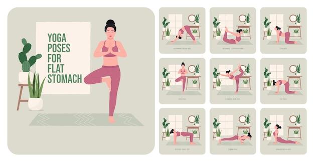 Yogahoudingen voor platte buik jonge vrouw die yogahoudingen beoefent