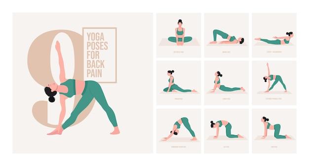 Yogahoudingen voor rugpijn jonge vrouw die yogahoudingen beoefent