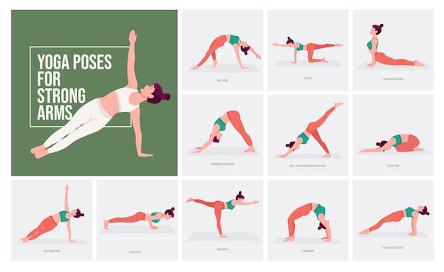 Yogahoudingen voor sterke armen jonge vrouw die yogahoudingen beoefent