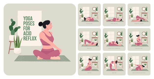Yogahoudingen voor verlichting van zure reflux jonge vrouw die yogahoudingen beoefent