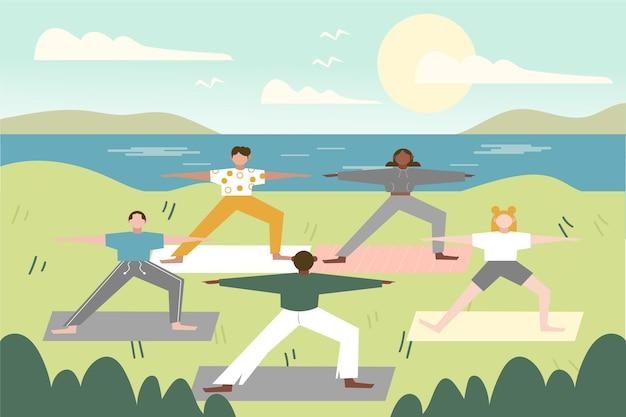 Yogales in de open lucht Gratis Vector