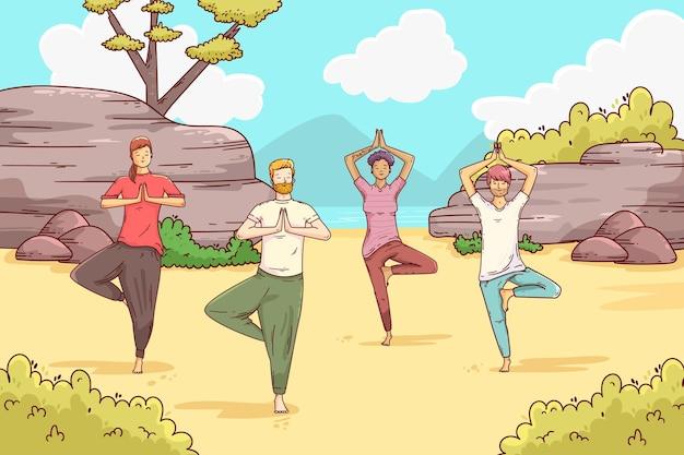 Yogales in de open lucht