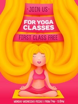Yogalessen uitnodiging met jonge blonde vrouw. cartoon stijl