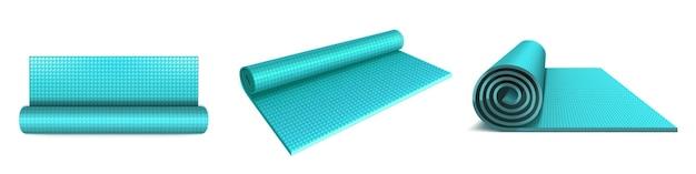 Yogamat boven-, hoek- en zijaanzicht, blauw opgerolde matras voor fitnessoefeningen, stretching, meditatie, sporttraining op de vloer, plat aerobicsdeken op wit wordt geïsoleerd