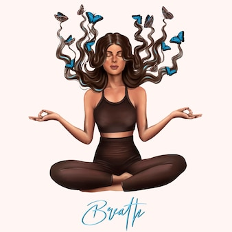 Yogameisje, adem. meditatie yoga, gezonde levensstijl. vector illustratie.