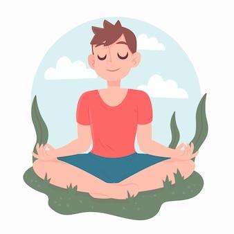 Yogapositie en helder geest man karakter