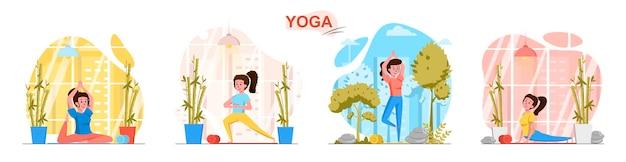 Yogascènes in vlakke stijl