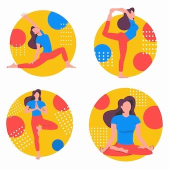 Yogaset met oefeningen. online thuis sporten. een vrouw voert asana's uit.