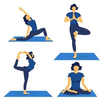 Yogaset. oefeningen, konten, poses. het meisje doet oefeningen.