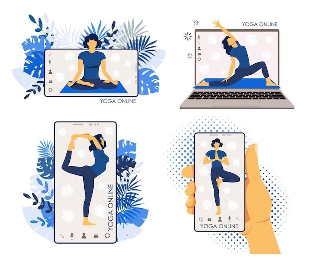Yogaset. oefeningen, konten, poses. het meisje doet online oefeningen op gadgets.