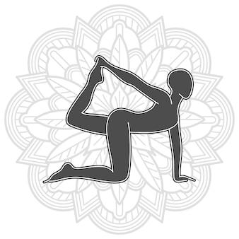 Yogatraining met mandala-ontwerp. vrouwelijke pilates silhouet