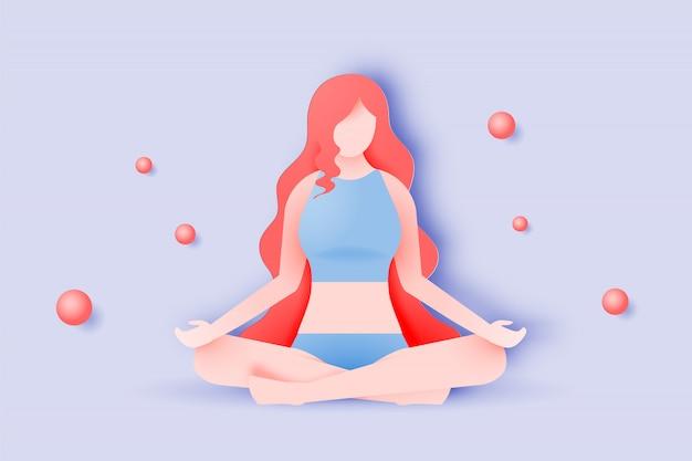 Yogavrouw in document kunststijl en pastelkleur