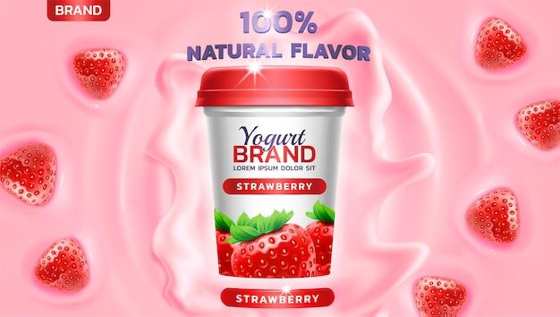 Yoghurt spatten en drijvende aardbei