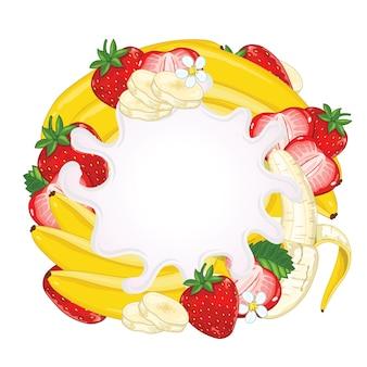 Yoghurtplons op aardbei en banaan wordt geïsoleerd die