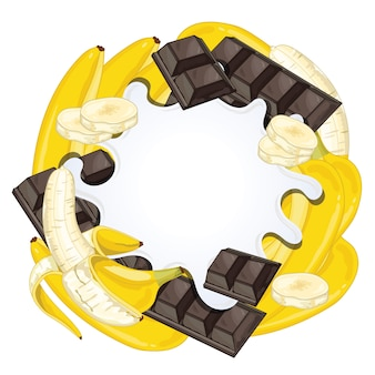 Yoghurtplons op chocolade en banaan wordt geïsoleerd die