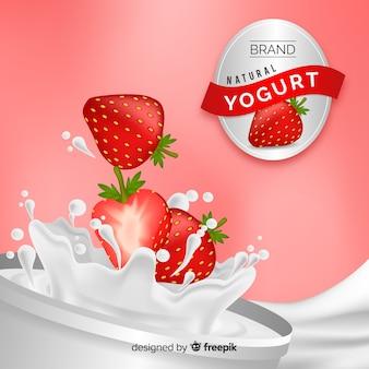 Yoghurtreclame met realistisch ontwerp