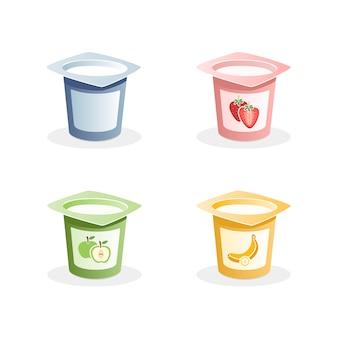 Yoghurtsmaken met lepel binnen op witte achtergrond