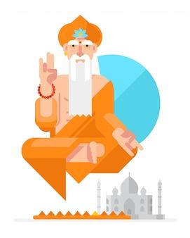 Yogi in de stijl van de cartoon. vector.