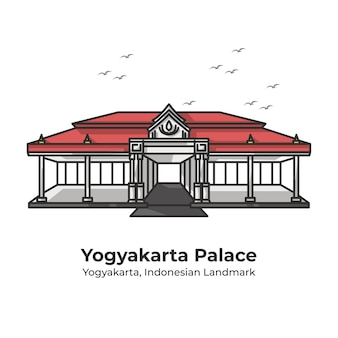 Yogyakarta palace indonesisch oriëntatiepunt leuke lijnillustratie
