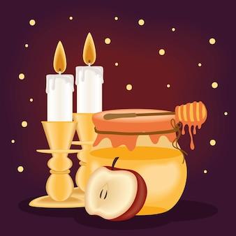 Yom kippur-kaart met honing