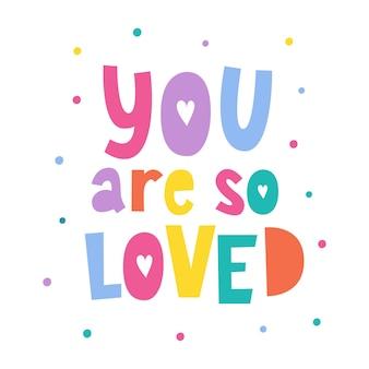 You are so love geschreven letterskinderkunst aan de muur babyprint
