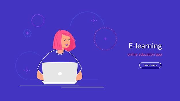 Youg vrouw werkt met laptop op haar bureau typen op toetsenbord. verlooplijn vectorillustratie van e-learning en studenten die thuis studeren. mensen die met laptop op blauwe achtergrond werken