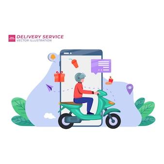 Young man draagt pakketten naar bestelwagen op gps-kaart laptop schermachtergrond. bestelling volgen concept. vector illustratie platte ontwerpstijl.