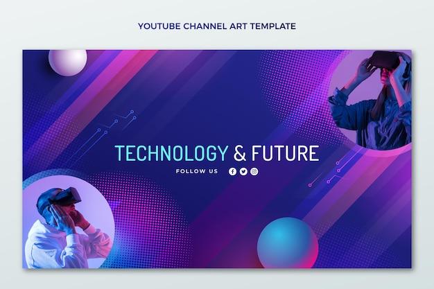 Youtube-kanaal met halftoontechnologie met kleurovergang