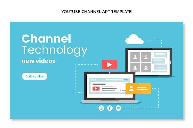 Youtube-kanaal met plat ontwerp, minimale technologie