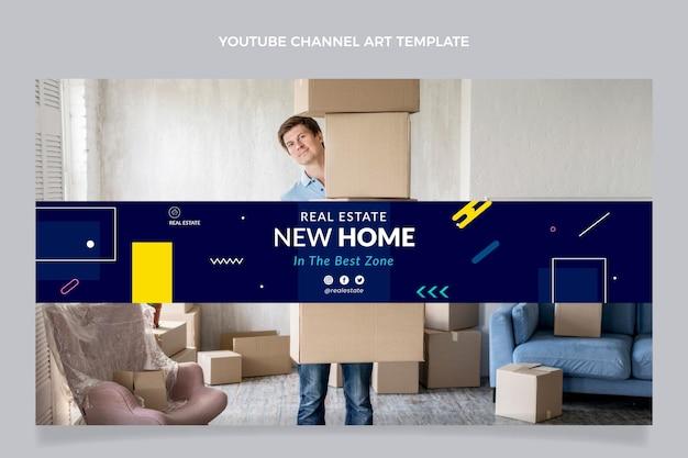Youtube-kanaal voor geometrisch onroerend goed met plat ontwerp