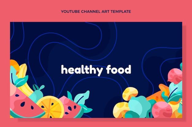 Youtube-kanaal voor gezond eten met plat ontwerp