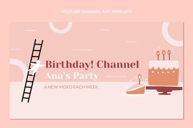Youtube-kanaal voor minimaal verjaardagsontwerp met plat ontwerp