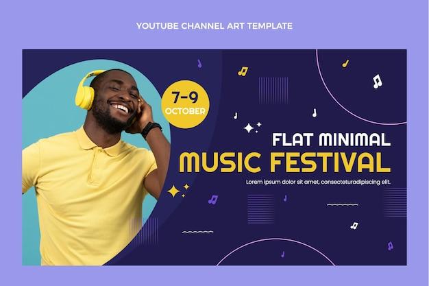 Youtube-kanaal voor minimalistisch muziekfestival met plat ontwerp